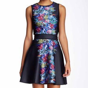 Cynthia Rowley Black Bonded A-Line Skirt Pockets S